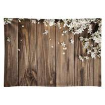 Funnytree 7X5ft Brown Wood White Flowers Photography Backdrop Floral Wedding Rustic Wooden Board Floor Background Bridal Shower Baby Birthday Party Banner Photo Studio Props