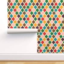Spoonflower Pre-Pasted Removable Wallpaper, Retro Moroccan Vintage Mid Century Modern Texture Colors Print, Water-Activated Wallpaper, 12in x 24in Test Swatch