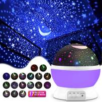 Night Lighting Lamp Kids' Party Centerpieces [ 4.9 FT USB Cord ] Romantic Rotating Cosmos Star Sky Moon Projector, Rotation Night Projection for Children Kids Bedroom(Purple)