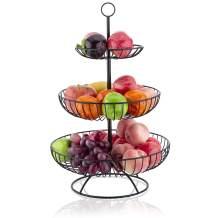 LOMOFI 3 Tier Fruit Bowl,Countertop Metal Fruit Basket Rack, Multifunction Black Fruit Bowls Vintage Style,Perfect for Fruit, Vegetables, Snacks, Household Items
