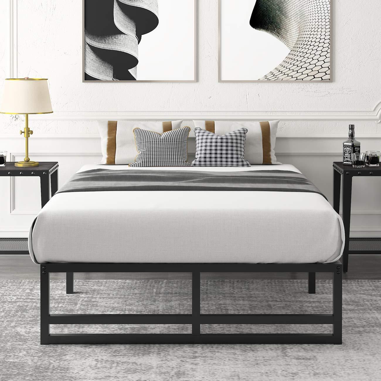 Amolife Metal Platform Bed Frame with Steel Slat Support,Mattress Foundation, Twin Size Bed Frame, Black