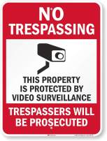 """SmartSign""""No Trespassing - This Property is Protected by Video Surveillance"""" Sign   18"""" x 24"""" 3M Engineer Grade Reflective Aluminum"""