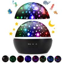 Night Light Projector, Ocean & Starry Sky Projection Lamp with 360 Degree Rotation, 4 LED Beads, 8 Colors Charging for Kids Children Baby Toddler Nursery Birthday Party Romantic Home Decoration(Black)
