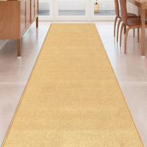 Beige Solid Plain Rubber Backed Non-Slip Hallway Stair Kitchen Runner Rug Carpet 31in X 4ft