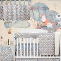 Brandream Woodland Animal Crib Bedding Sets Fox Nursery Bedding with Chic Crib Rail Cover 100% Cotton White Floral Print, 6 Piece Christmas Hot Baby Gift