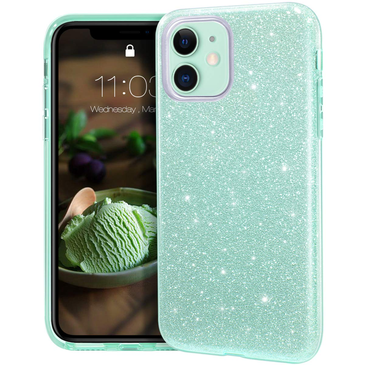 MATEPROX iPhone 11 case,Bling Sparkle Cute Girls Women Protective Case for iPhone 2019 6.1inch(Green)