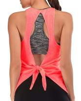Workout Tops for Women Built in Bra Loose Tank Exercise Top Racerback Athletic Tank Yoga Shirt