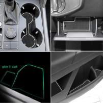 Auovo Anti Dust Door Mats for VW Volkswagen Atlas 2019 2018 2020 Interior Accessories Custom Fit Door Compartment Cup Center Console Liners(19pcs/Set) (White)