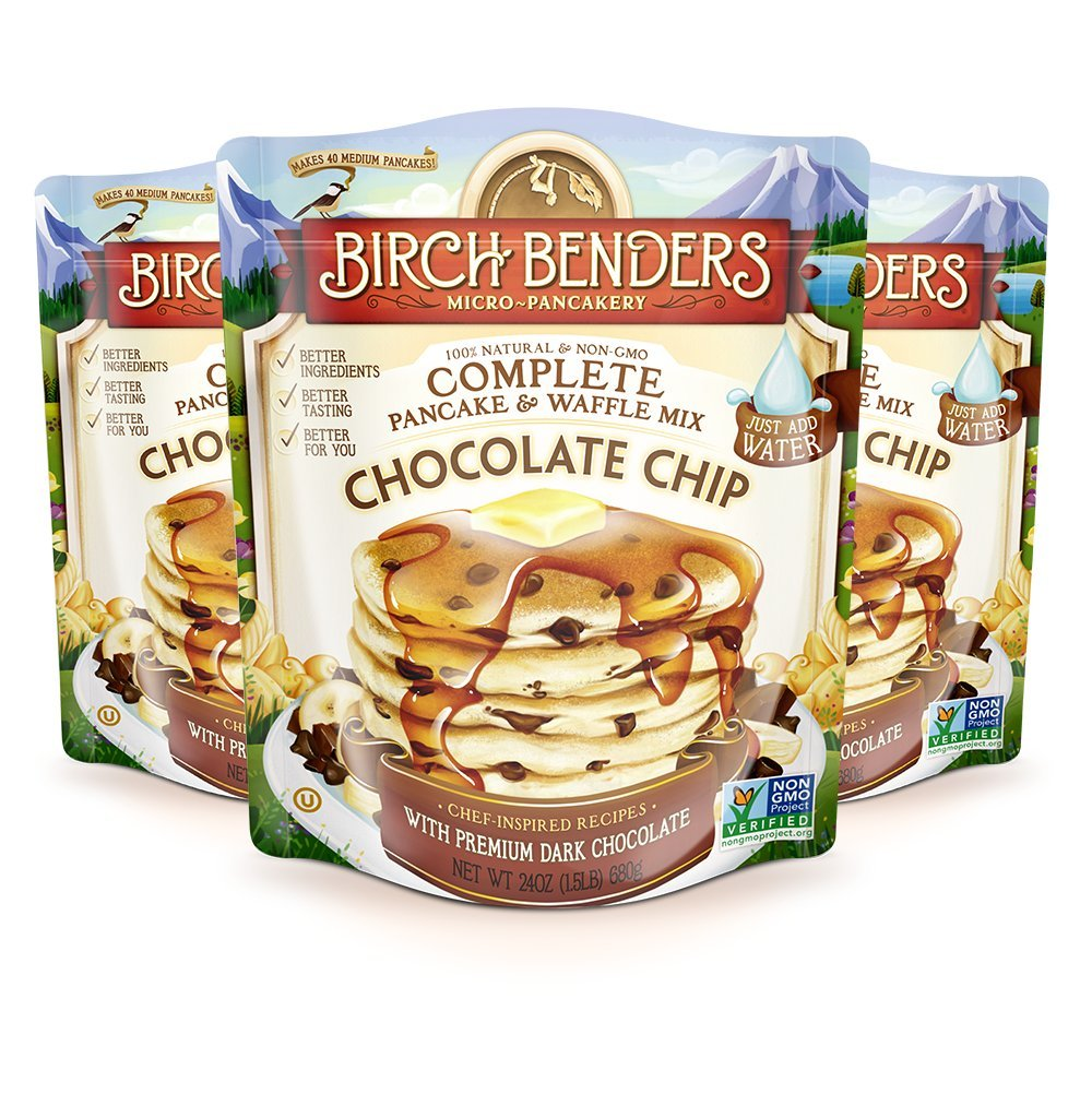 All Natural Chocolate Chip Pancake and Waffle Mix by Birch Benders, Made with Premium Dark Chocolate, 100% Natural and Non-GMO Verified Ingredients, 72 Ounce (24oz 3-pack)
