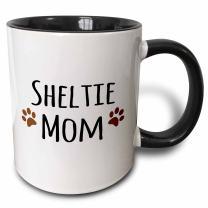 3dRose Sheltie Dog Mom Mug, 11 oz, Black