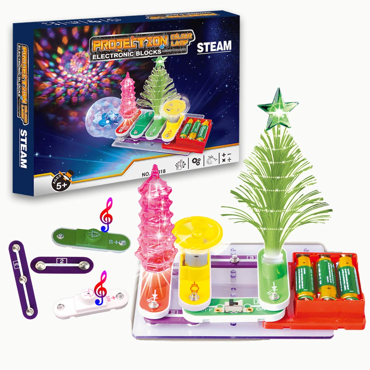 Yileqi Kids Electronics Experiment Kit with Full Color Project Manual, Over 64 Exciting Projects 17+ Circuits Snap Parts, Activities STEM Toys Educational Gift Science Kit for Boys Girls 5 6 7 8 9 10