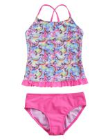 Hilor Girl's Two Piece Swimsuits Ruffle Hem Tankini Set Cross Back Swimwear Set