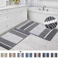 "Striped Bath Rug Super Soft Microfiber Non Slip Mat Anti-Slip Bath Mats Plush Chenille Yarn Shaggy Mat Living Room Bedroom Mat Floor Water Absorbent, 20"" x 32"" Plus 17"" x 24"", Gray"