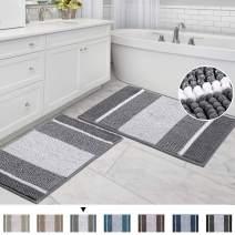 "Striped Bath Rug Super Soft Microfiber Non Slip Mat Anti-Slip Bath Mats Plush Chenille Yarn Shaggy Mat Living Room Bedroom Mat Floor Water Absorbent, 20"" x 32"" Plus 17"" x 24"", Gray"