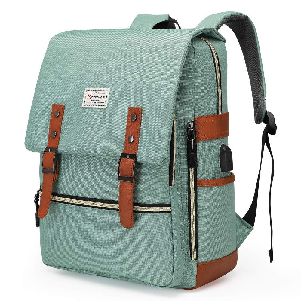 Modoker Teal Vintage Laptop Backpack College School Bookbag for Women Men, Slim Travel Laptop Backpack with USB Charging Port Computer Bag Casual Rucksack Daypack Green