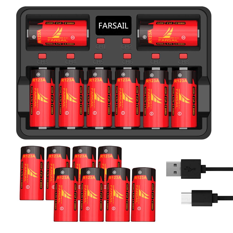 CR123A Rechargeable Batteries, FARSAIL 16 Pack 800mAh CR123A Arlo Batteries Rechargeable and Charger for Arlo VMC3030 VMK3200 VMS3130 3230C 3430 3530 Cameras, Alarm System, Flashlight