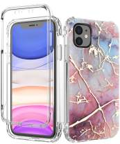 SPEVERT iPhone 11 Case, Marble Pattern Shock Absorption Stylish Case with Built-in Screen Protector Case Compatible for iPhone 11 6.1 inches (Colorful)