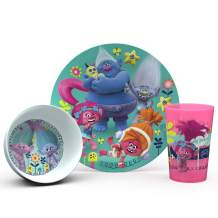 Zak Designs Trolls Movie Kids Dinnerware Sets, 3 Piece