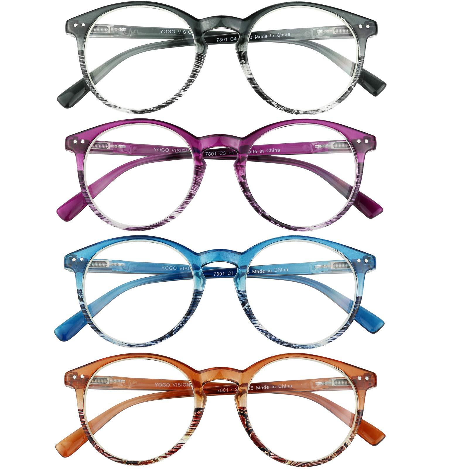 Reading Blue Light Blocking Glasses Round Eyeglasses for Women 4 Pack