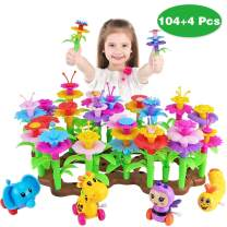 Aitey Flower Garden Building Toys for Girls, Kid Gardening Set with 4 Wind-Up Toys for 3, 4, 5, 6 Year Old Toddler Birthday Gifts, Stacking STEM Educational Arts and Crafts Playset (108 Pack)