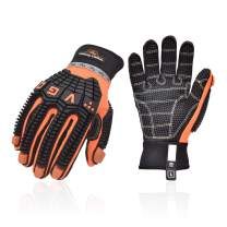 Vgo Offshore Anti Vibration Oil-Proof Impact Protection Water-Repellent Safety Synthetic Leather Work Gloves(Size L, Orange, SL9678)