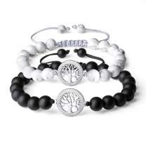 COAI Tree of Life Howlite Onyx Stone Bracelet