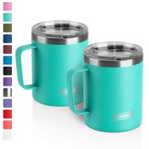 12 oz Stainless Steel Insulated Coffee Mug with Handle, Double Wall Vacuum Travel Mug, Tumbler Cup with Lid (Teal, 2 Pack)