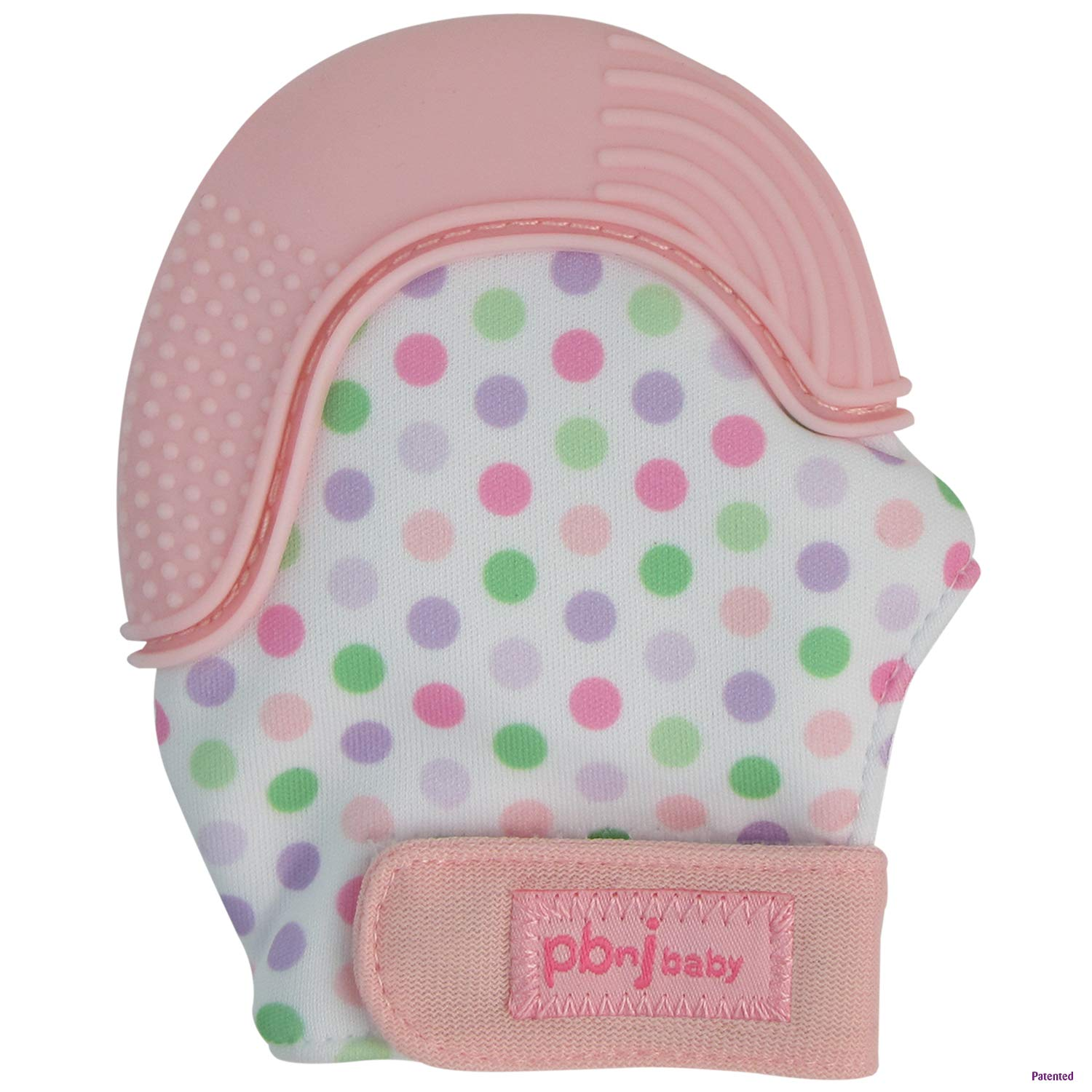 PBnJ baby Silicone Infant Teething Mitten Teether Glove Mitt Toy with Travel Bag (Pink Dot)