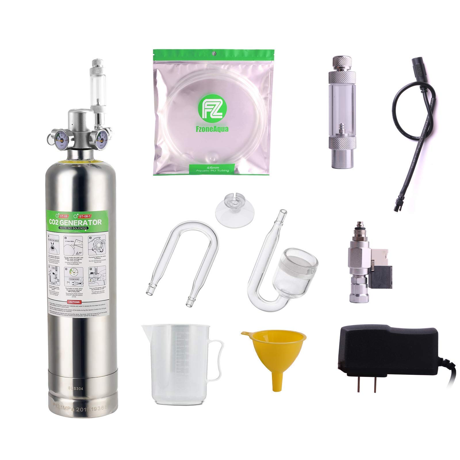 FZONE 2.5L Aquarium CO2 Generator System Carbon Dioxide Reactor Kit with Regulator Mini DC Solenid and Diffuser for Aquarium Plants Tanks