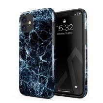 BURGA Phone Case Compatible with iPhone 11 - Dark Ice Blue and Black Marble Cute Case for Girls Heavy Duty Shockproof Dual Layer Hard Shell + Silicone Protective Cover