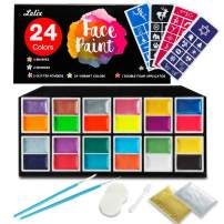Face Paint Kit, Lelix 24 Colors Face and Body Paints with 40 Stencils, 2 Glitter Powders, 2 Brushes, 2 Sponges, 1 Double Foam Applicator for Kids, Non Toxic, Halloween Facing Painting Supplies