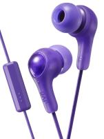PURPLE GUMY In ear earbuds with stay fit ear tips and MIC.  Wired 3.3ft colored cord cable with headphone jack.  Small, medium, and large ear tip earpieces included.  JVC GUMY HAFX7MV