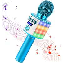 srnede Bluetooth Wireless Karaoke Microphone with LED Lights, Portable Microphone for Kids Girls Boys and Adults