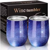 MASCOTKING Wine Glasses Tumbler - 12 oz 2 Pack - Double Wall Vacuum Insulated Cup with Lids for Keeping Wine, Coffee, Drinks-Beverage Warm in Winter(2PACK 12oz, Starry Blue)