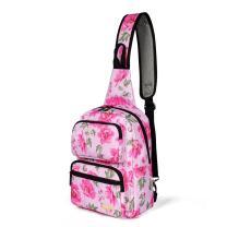 Daxvens Travel Crossbody Backpack for Women, Ladies Hiking Sling Bags, Girls Single Shoulder Daypack Floral Solid