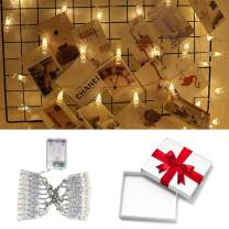 Sunfuny LED Photo Clip String Lights Holder - 20 LEDs 9.8Ft, Fairy String Light, Starry Twinkle Strand Lights for Hanging Pictures Christmas Cards, Home Indoor Decor (Battery Powered,Warm White)