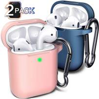 Compatible with AirPod Case Cover, (2 Pack) Cover for Airpods Case(Aqua Blue&Pink)