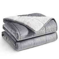 YnM Sherpa Weighted Blanket (Light Grey, 60''x80'' 20lbs) Ultra Fuzzy & Cosy Sherpa Weighted Blanket Throw, Cosy & Relaxing Blanket, Home Decor Piece …