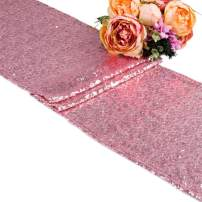 """108 inches/118 inches Sequin Gold Silver Wedding Table Runners Red Sparkly Table Runner Shinny Glitter for Banquet Party 3 Size/5 Colors Pack of 1 5 10 (12""""x108""""/Pink, 1)"""