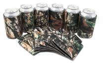 TahoeBay 25 Blank Beer Can Coolers, Plain Bulk Collapsible Soda Cover Coolies, DIY Personalized Sublimation Sleeves for Weddings, Bachelorette Parties, Funny HTV Party Favors (Camo, 25)