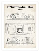 Porsche 550 Spyder Poster 1953 Vintage Art Handmade Giclee Gallery Print Parchment Unframed (18 x 24)