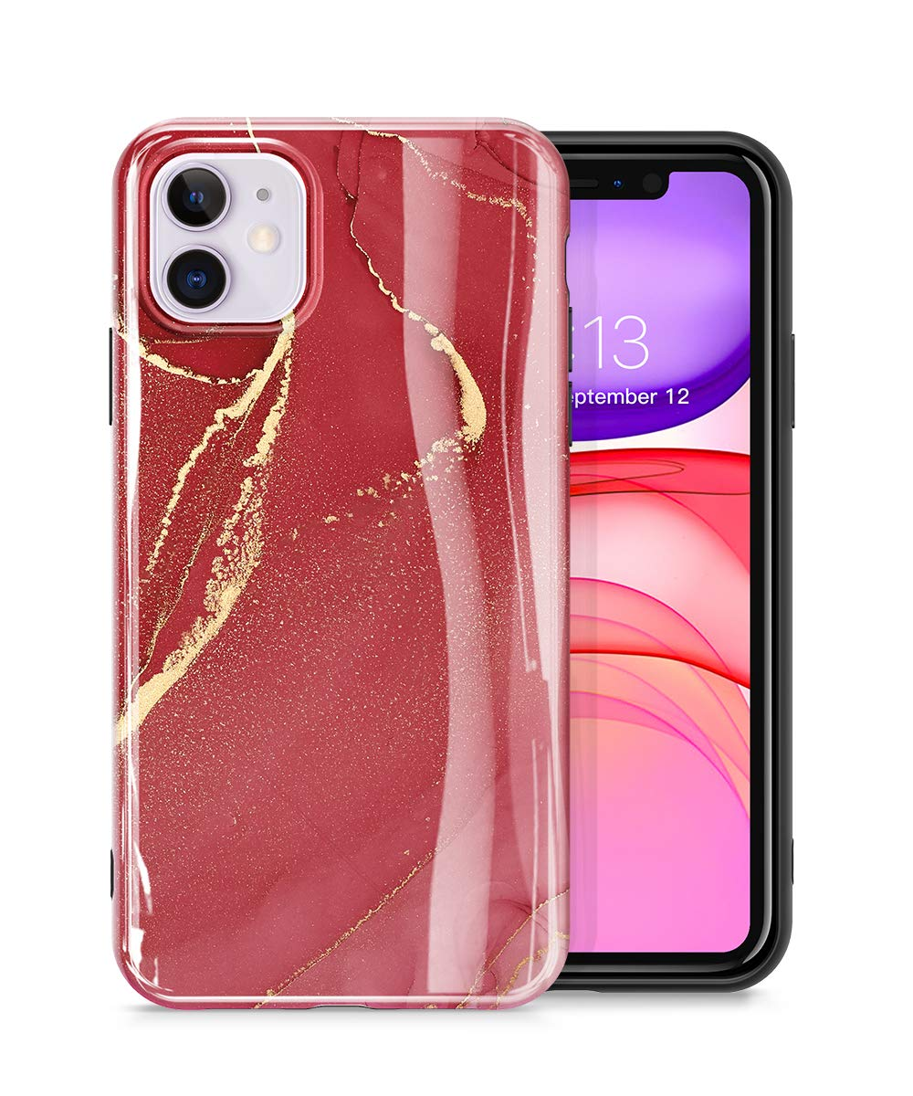 GVIEWIN Marble iPhone 11 Case, Ultra Slim Thin Glossy Soft TPU Rubber Gel Phone Case Cover Compatible iPhone 11 6.1 Inch 2019 (Sand Red)
