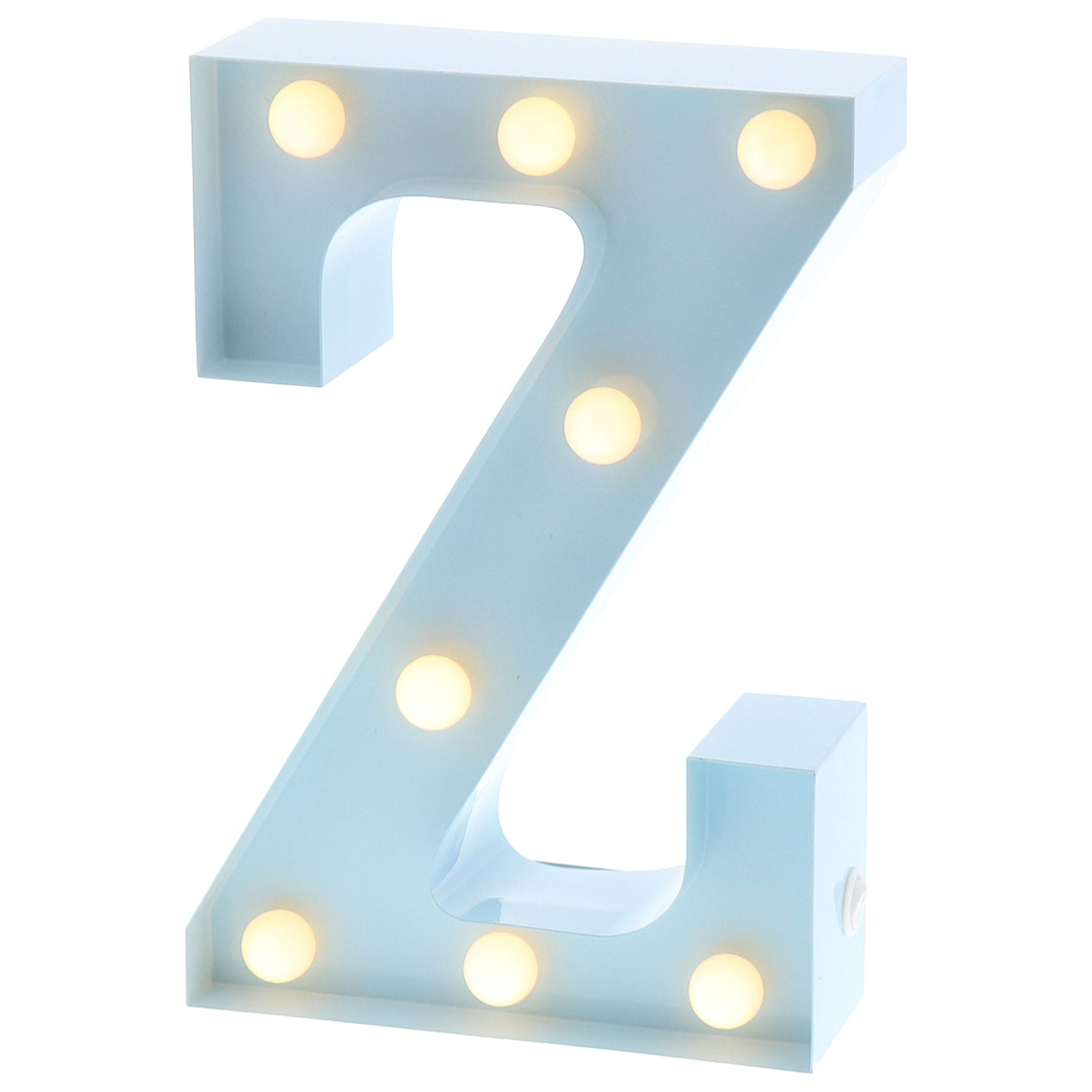 """Barnyard Designs Metal Marquee Letter Z Light Up Wall Initial Nursery Letter, Home and Event Decoration 9"""" (Baby Blue)"""