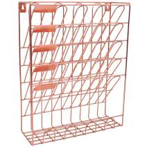 EASEPRES Hanging File Holder Organizer Metal Wall Mount Document Letter Tray Magazine Rack, 6 Tier, Rose Gold