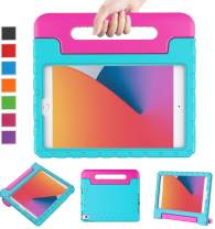 LTROP New iPad 8th Generation Case, iPad 10.2 Case 2020/2019, iPad 7th Generation Case for Kids - Shockproof Light Weight Handle Stand Kids Case for iPad 8th/7th Gen 10.2-inch 2020, Teal and Rose