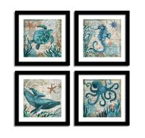 "YOOOAHU 4 Pieces Canvas Prints Home Wall Decor Art Collection of Marine Animals Watercolor Sea Turtle Seahorse Whale Octopus Ocean Animal Pictures Modern Artwork Ready to Hang -24""x24""x4 Panels(BK)"