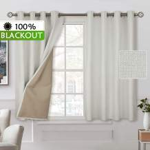 BGment 100% Blackout Curtains with Liner for Bedroom, Grommets Thermal Insulated Textured Linen Lined Curtains for Living Room (52 x 54 Inches, 2 Panels, Ivory White)