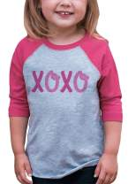 7 ate 9 Apparel Kids XOXO Happy Valentine's Day Pink Raglan