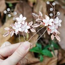 Unicra Bride Flower Wedding Hair Pins Leaf Bridal Hair Piece Pearl Hair Accessories for Women and Girls (Pack of 2) (Rose Gold)
