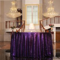 "PartyDelight Sequin Tablecloth, Christmas Tree Skirt, Round, 48"", Purple"